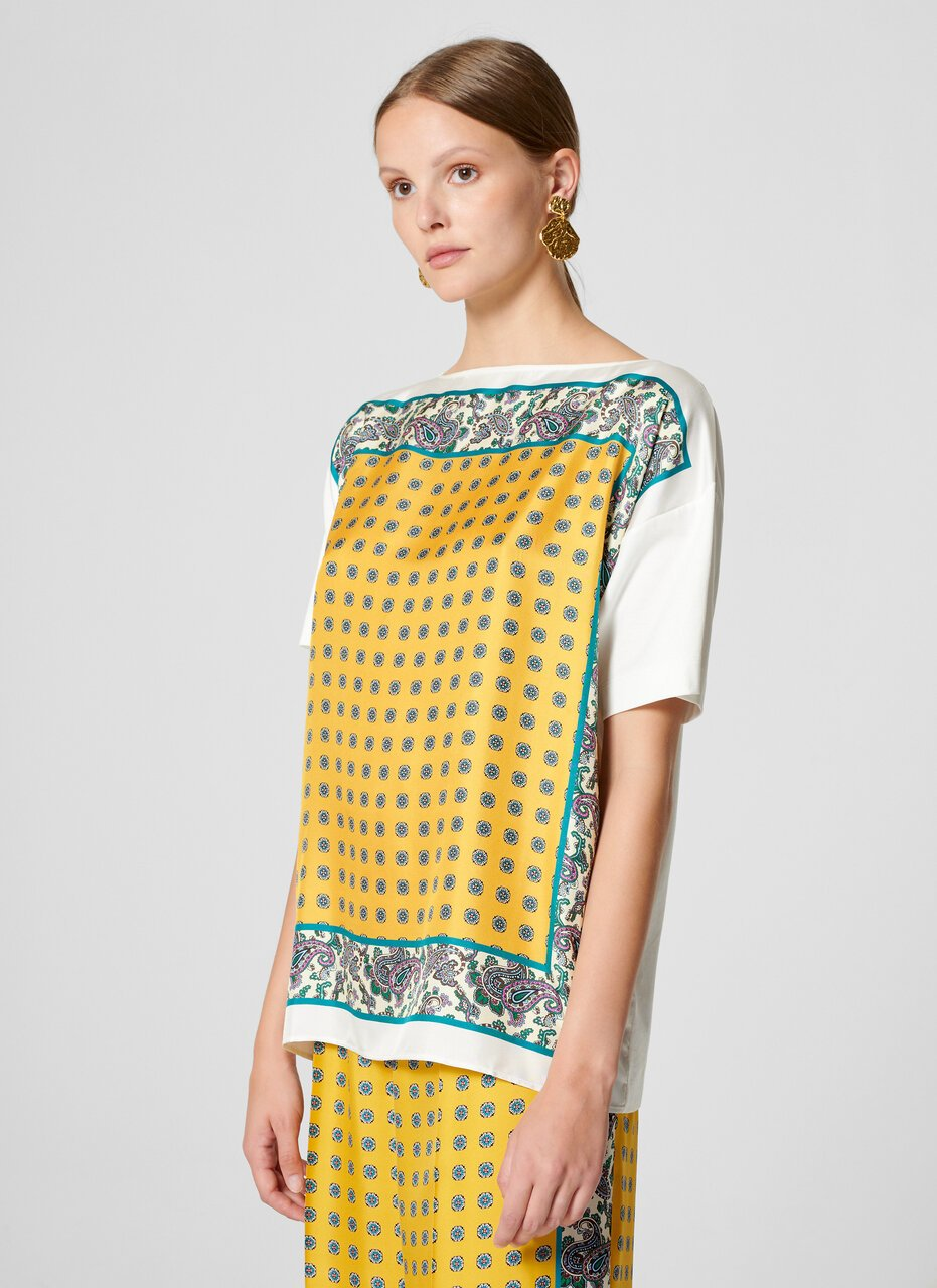 Cotton and Silk Foulard T-shirt - ESCADA