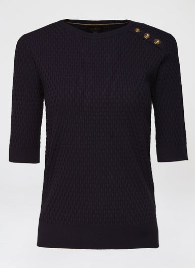 Short-Sleeve Button-Detail Sweater - ESCADA