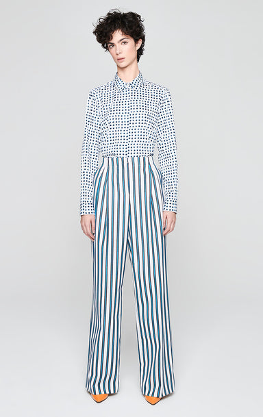 Wool Blend Stripe Wide Leg Pants - ESCADA