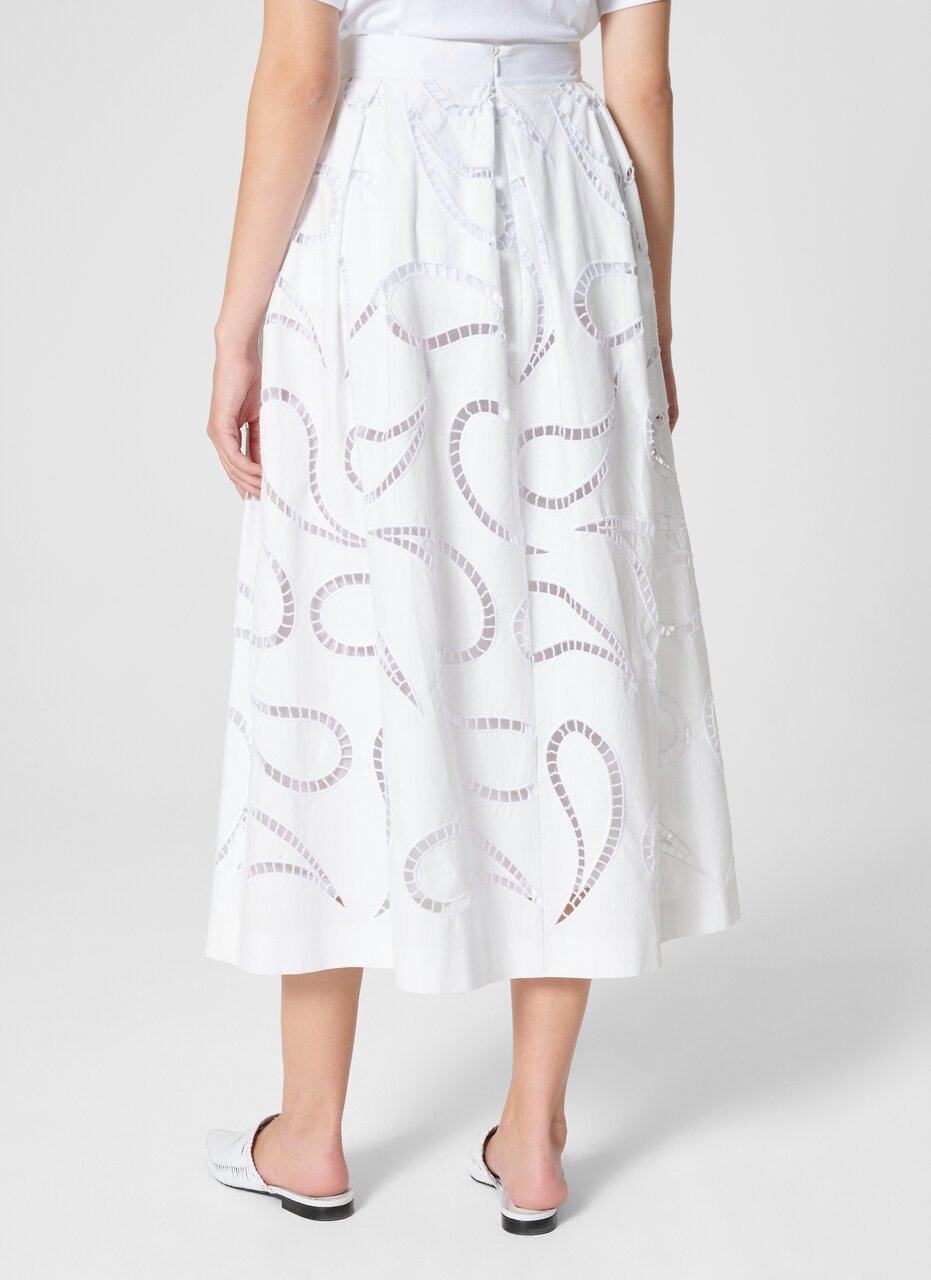 ESCADA Cotton Paisley Broderie Skirt