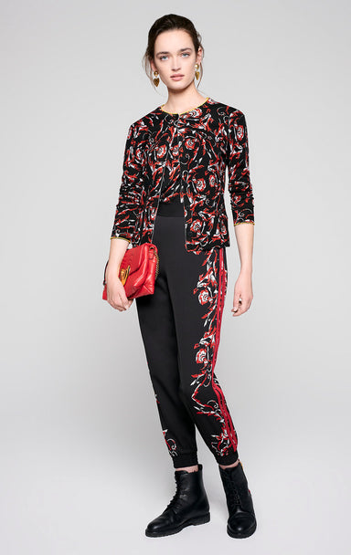 Embroidered Floral Print Sweater - ESCADA