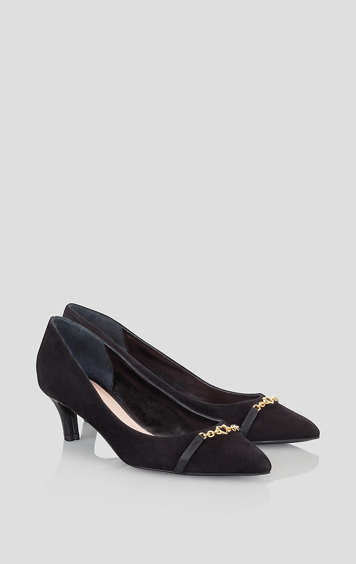 Suede Embellished Kitten Heel Pumps - ESCADA