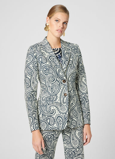 ESCADA Cotton Stretch Paisley Blazer