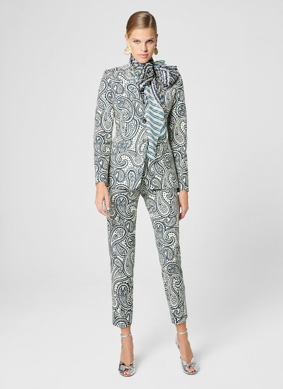 Cotton Stretch Paisley Blazer - ESCADA