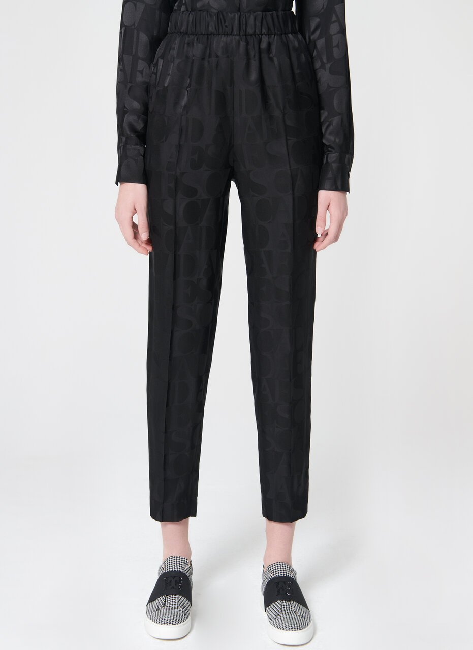 Slip on silk mix logo pant - ESCADA