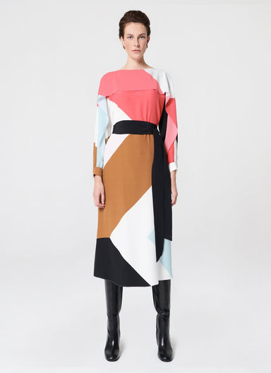 Silk dress with flounce detail - ESCADA