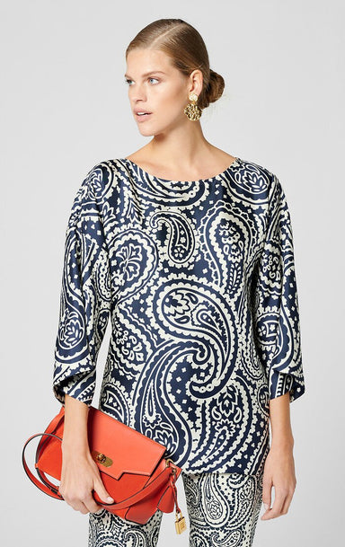 Silk Paisley Print Top - ESCADA