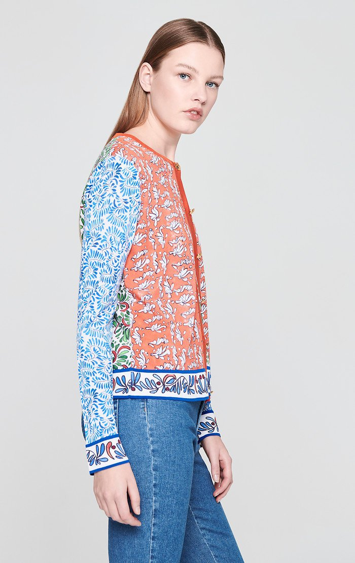 Cotton Blend Printed Cardigan - ESCADA