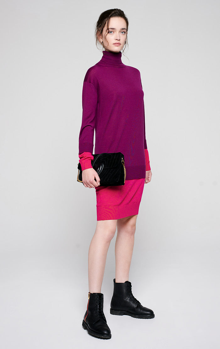 ESCADA Wool Color Block Sweater Dress