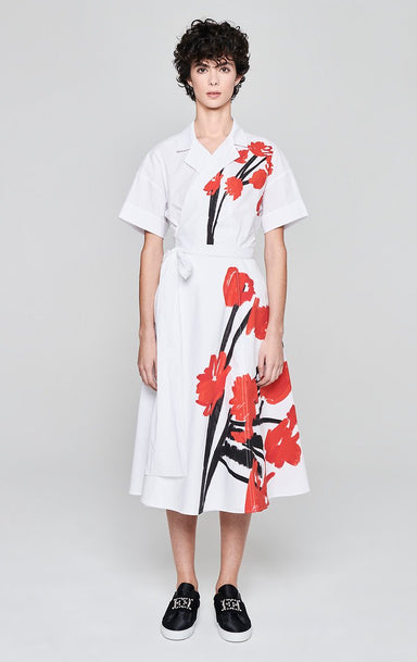 ESCADA Cotton Poplin Printed Wrap Dress