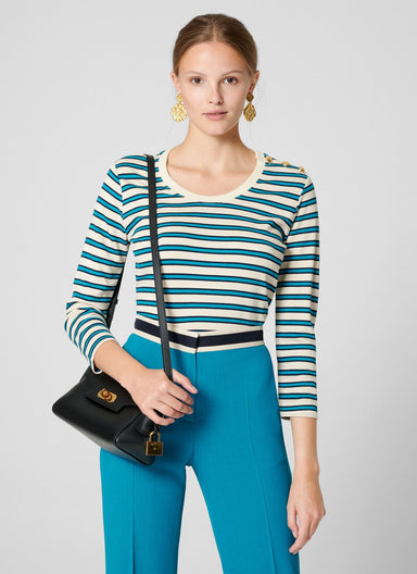 Button-Detail Stripe T-shirt - ESCADA