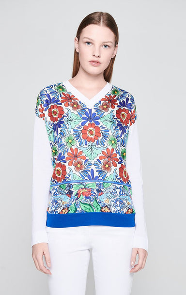 ESCADA Cotton Blend Printed Sweater
