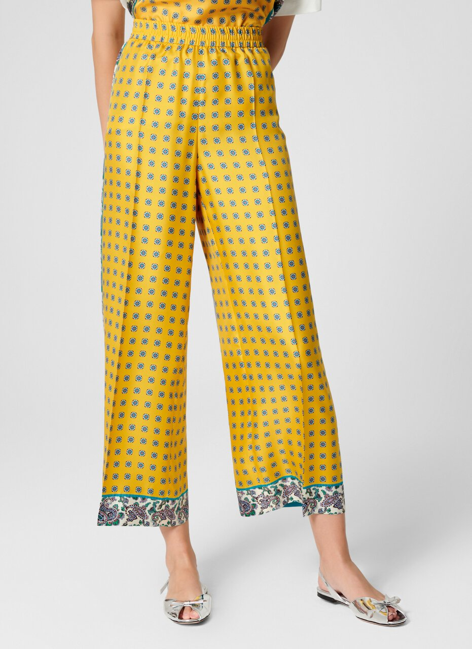 Silk Foulard Wide Leg Pants
