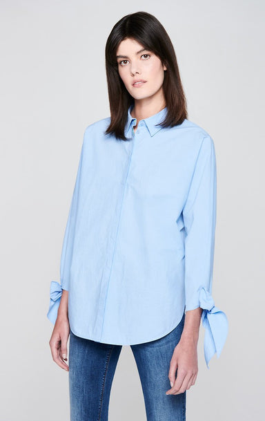 Cotton Poplin Tie-Cuff Shirt - ESCADA