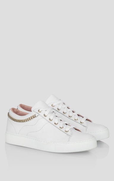 ESCADA Leather Chain-Trimmed Sneakers