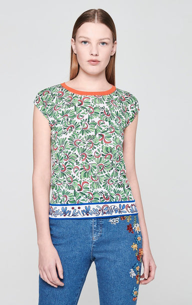 ESCADA Cotton Blend Printed Knit Top