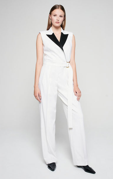 Wool Twill Belted Jumpsuit - ESCADA