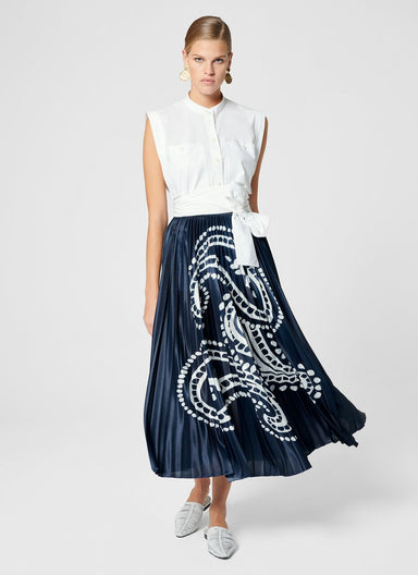 ESCADA Pleated Paisley Midi Skirt