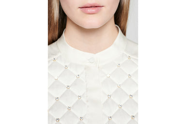 ESCADA Silk Crystal-Embroidered Blouse