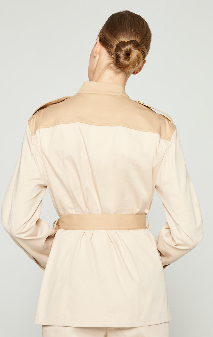 ESCADA Two-Tone Cotton Belted Jacket