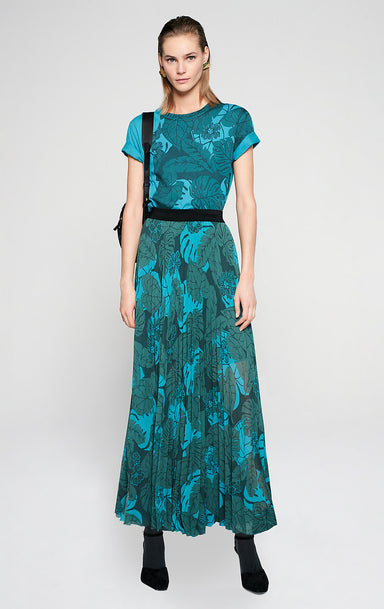 ESCADA Printed Plissé Maxi Skirt