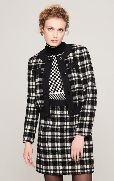 Wool Check Tweed Jacket - ESCADA