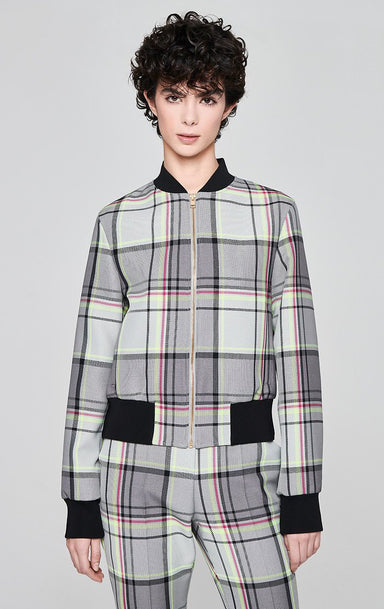 ESCADA Cotton Blend Check Bomber Jacket