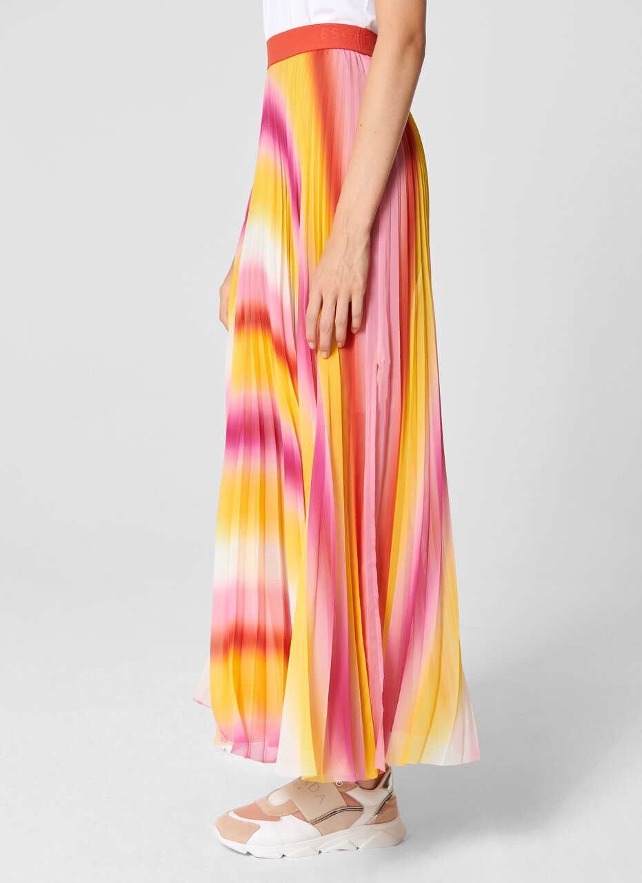ESCADA Multicolor Plissé Maxi Skirt