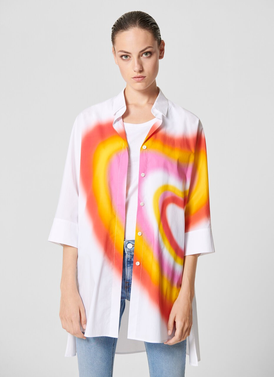 Oversized Airbrush Heart Shirt - ESCADA