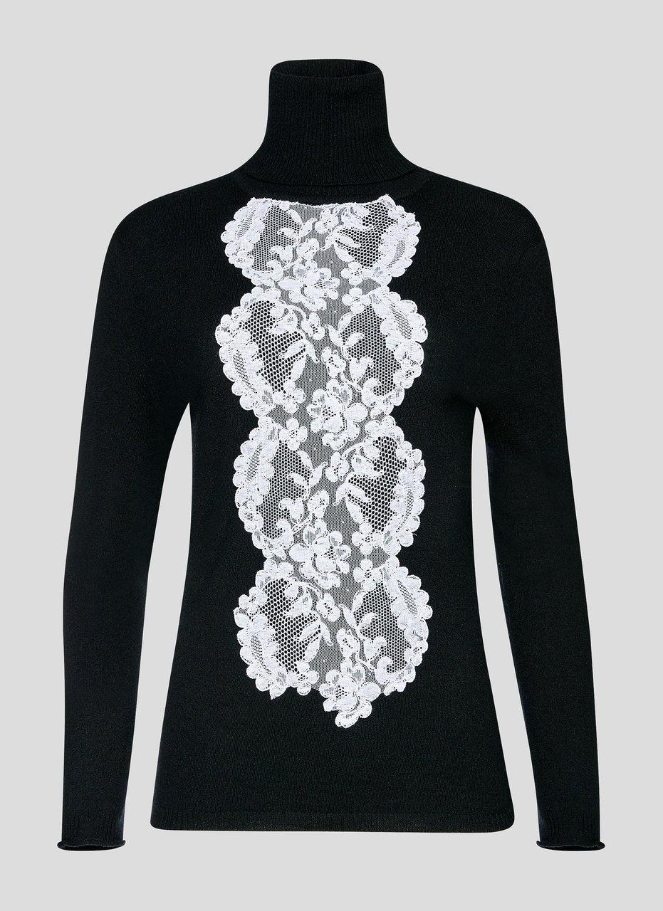 ESCADA Residency Collection - Wool and Lace Turtleneck Sweater
