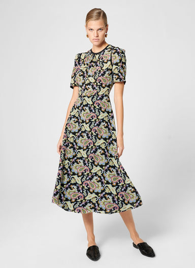 ESCADA Silk Paisley Print Midi Dress