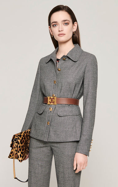 Virgin Wool Houndstooth Jacket - ESCADA