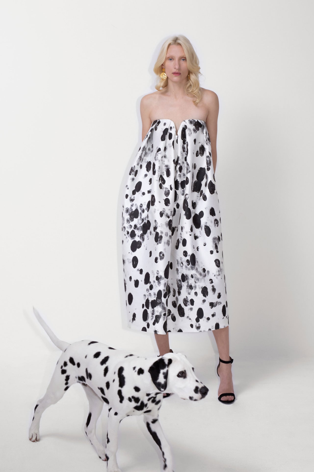 ESCADA Fall/Winter 2020 White dalmatian strapless dress