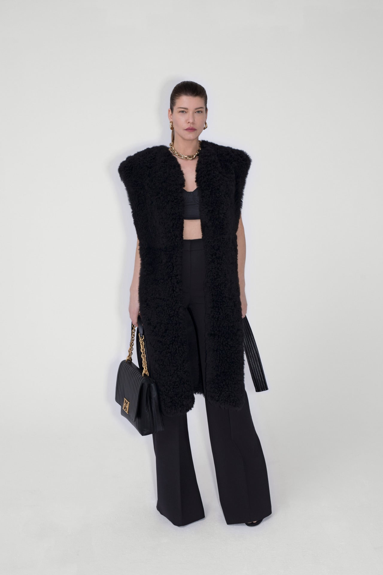 ESCADA Fall/Winter 2020 Black long Shearling vest