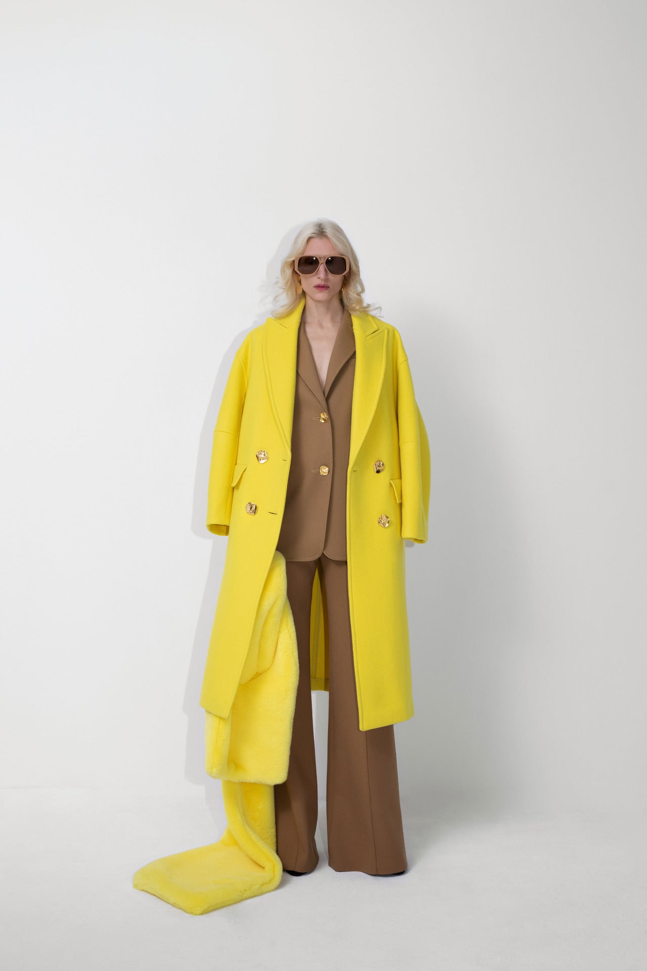 ESCADA Fall/Winter 2020 Yellow statement coat and beige power suit wide legs