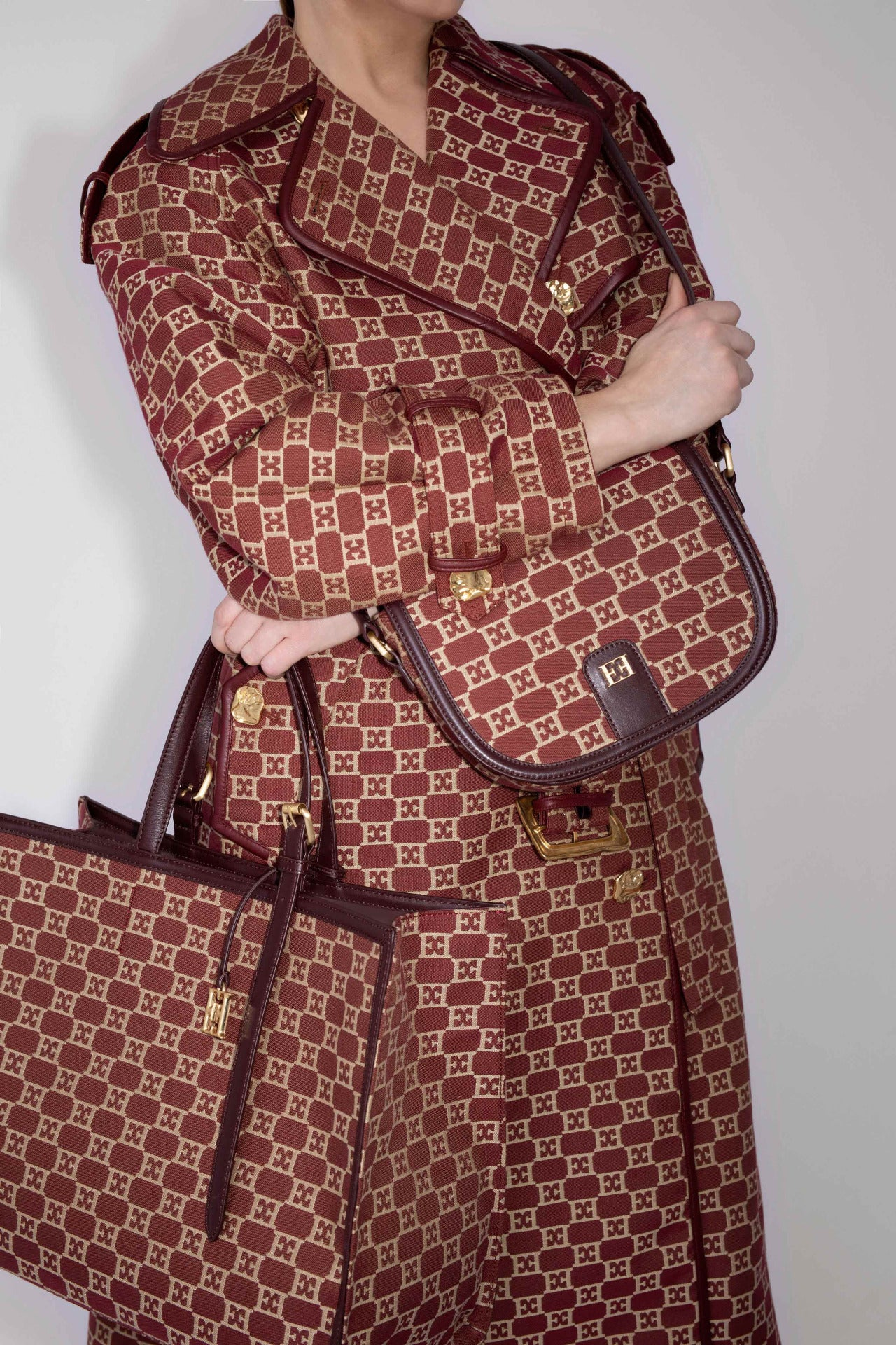 ESCADA Fall/Winter 2020 Jaquard logo coat and bags