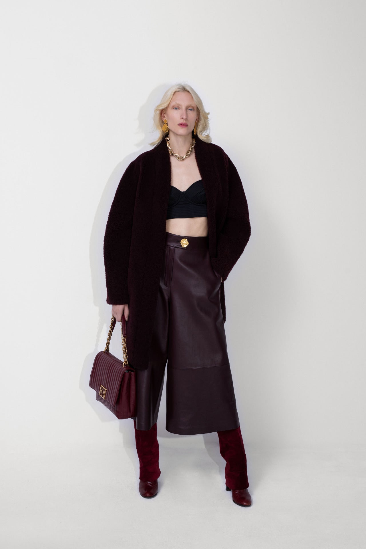 ESCADA Fall/Winter 2020 Black coat and leather culotte