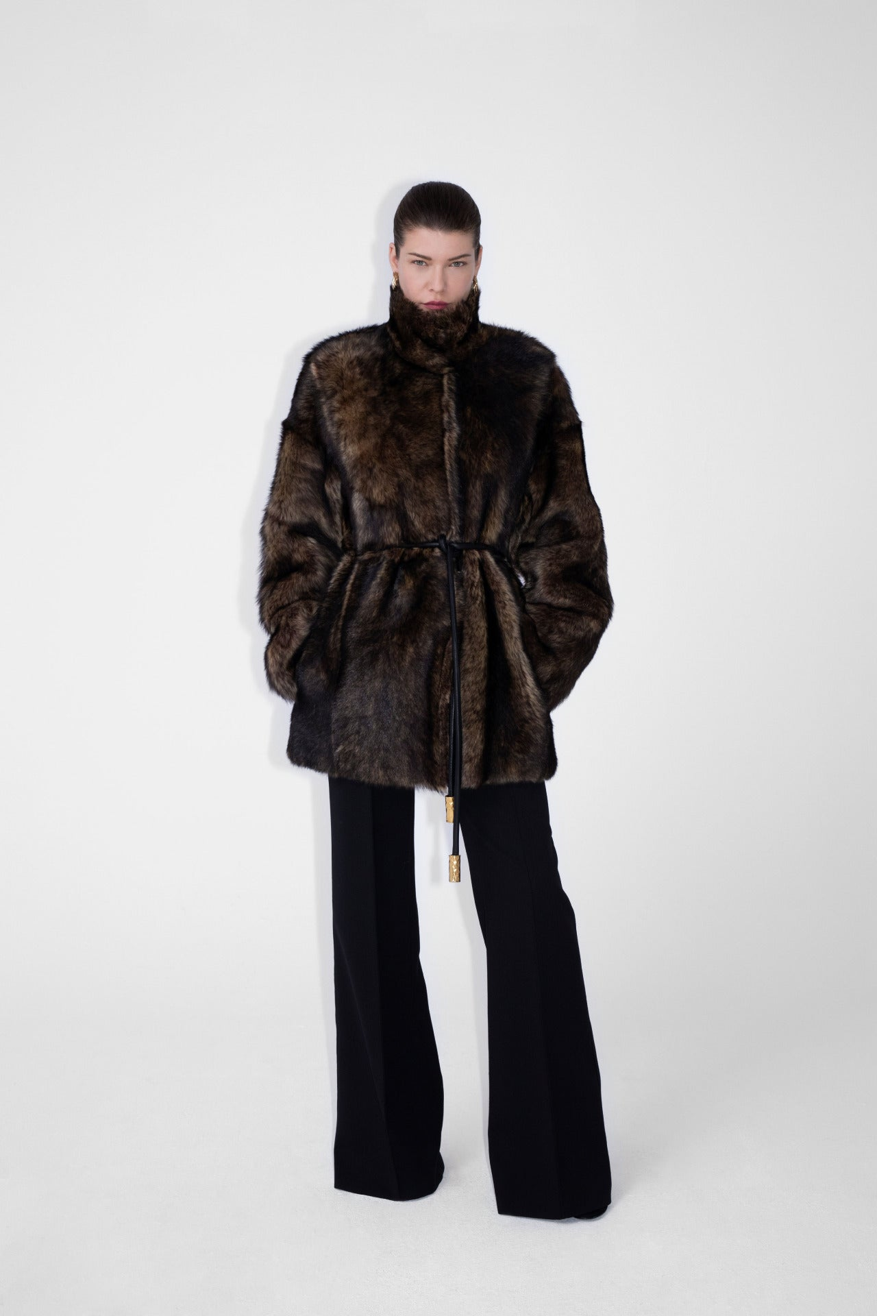 ESCADA Fall/Winter 2020 Fake fur coat with leather belt