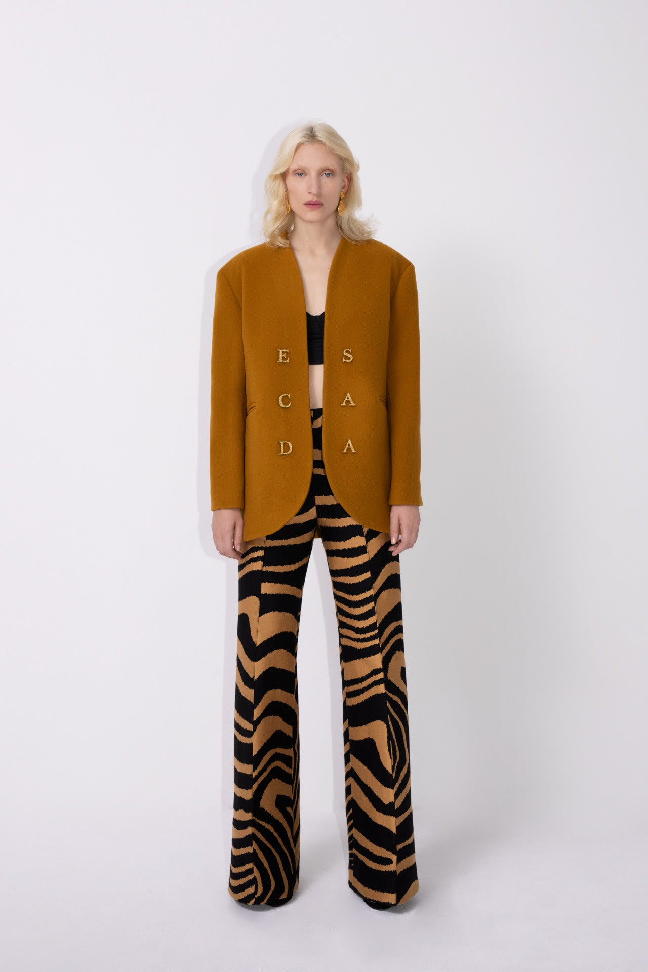 ESCADA Fall/Winter 2020 Blazer with golden ESCADA letters zebra pants