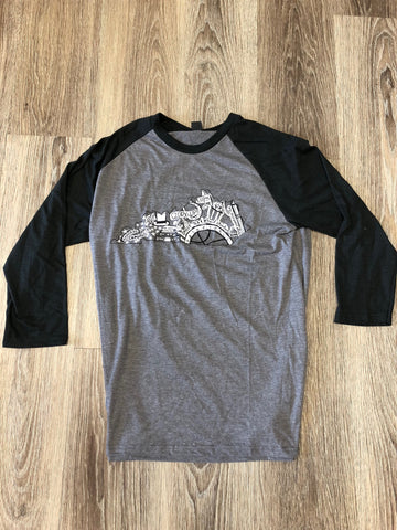 Heather Gray & Black Kentucky Doodle Raglan Tee