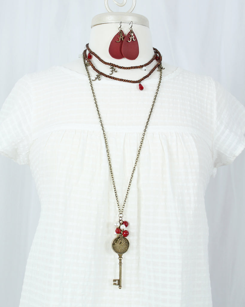 "36"" Alabama Vintage Style Logo w/ Key and Pearl Cluster Necklace"