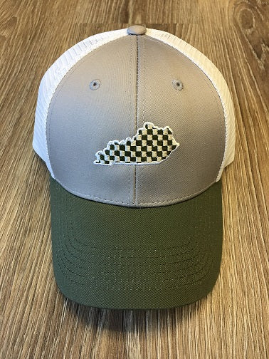 Green & Gray w/ White Mesh Kentucky Hat
