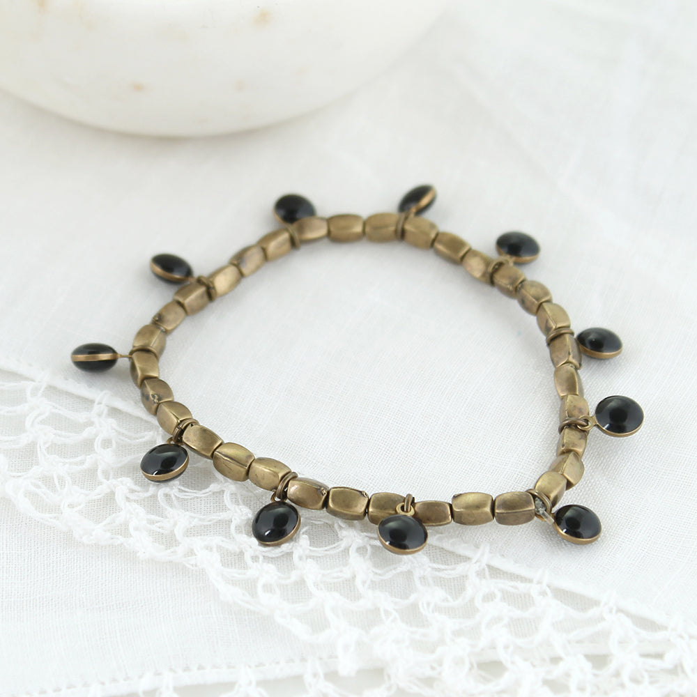 Vintage Enamel Dot Stretch Bracelet - Black