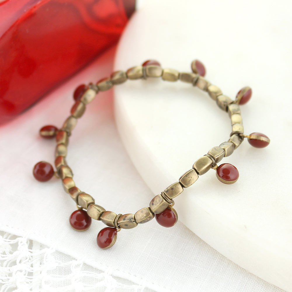 Vintage Enamel Dot Stretch Bracelet - Crimson