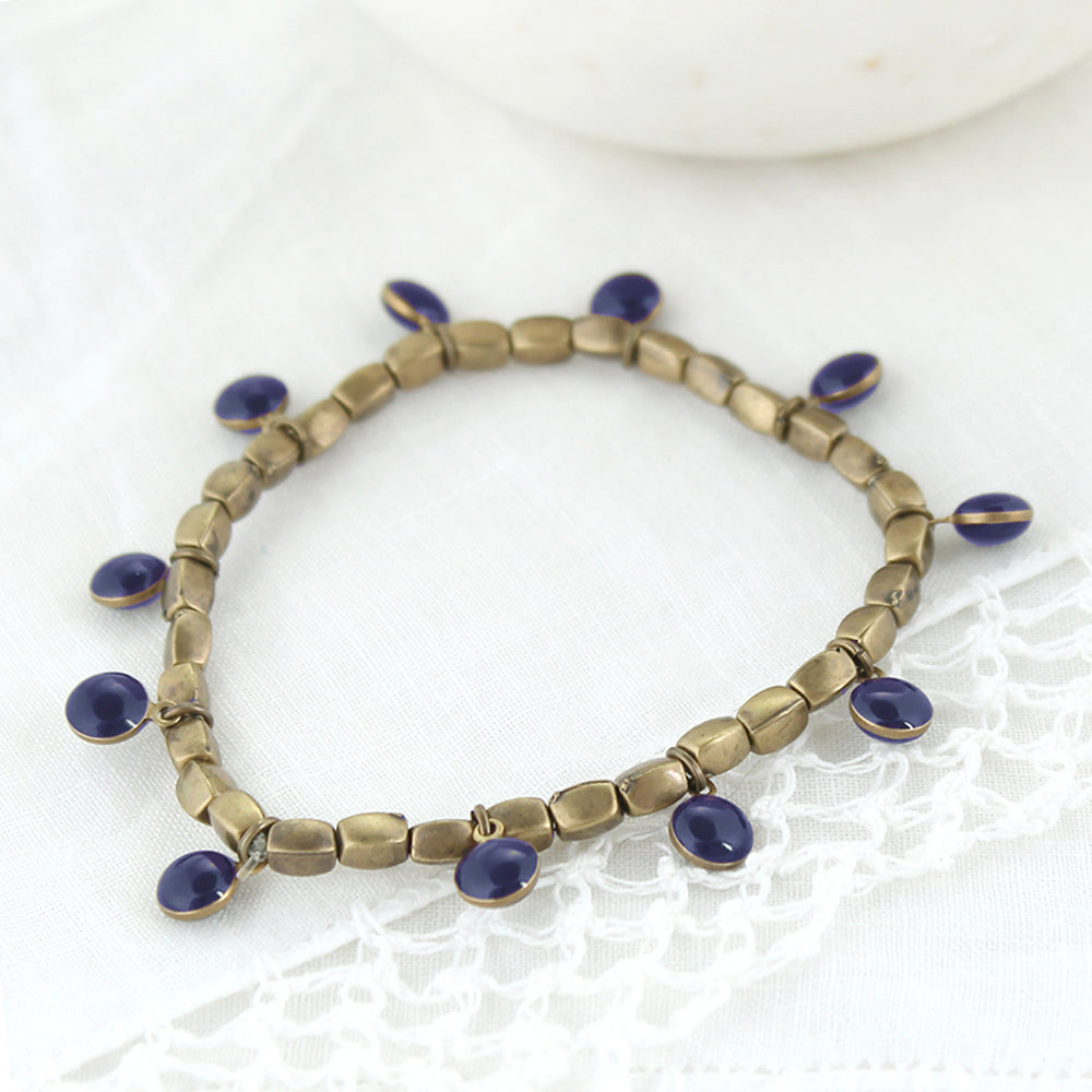 Vintage Enamel Dot Stretch Bracelet - Navy