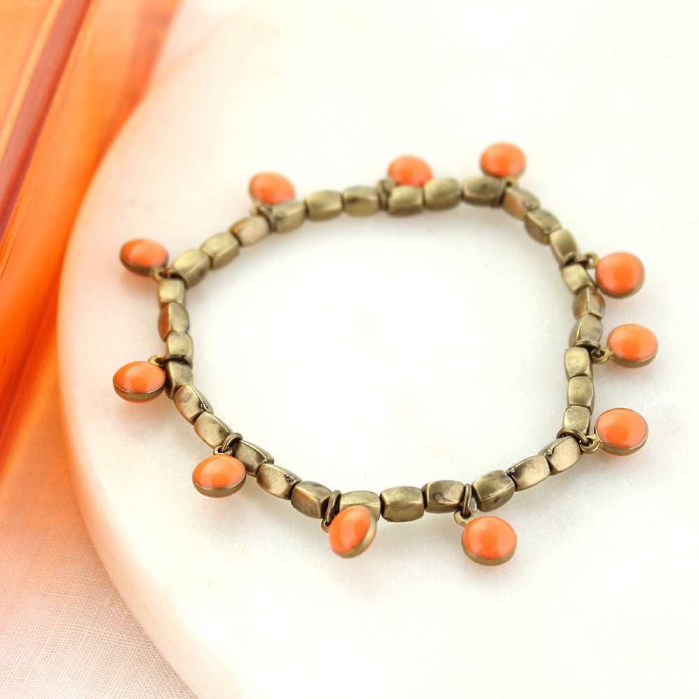 Vintage Enamel Dot Stretch Bracelet - Orange