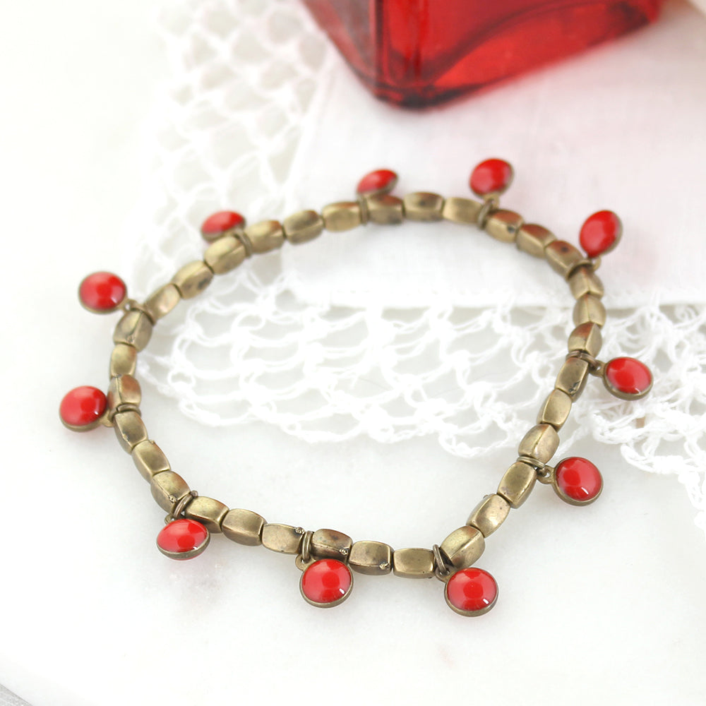Vintage Enamel Dot Stretch Bracelet - Red