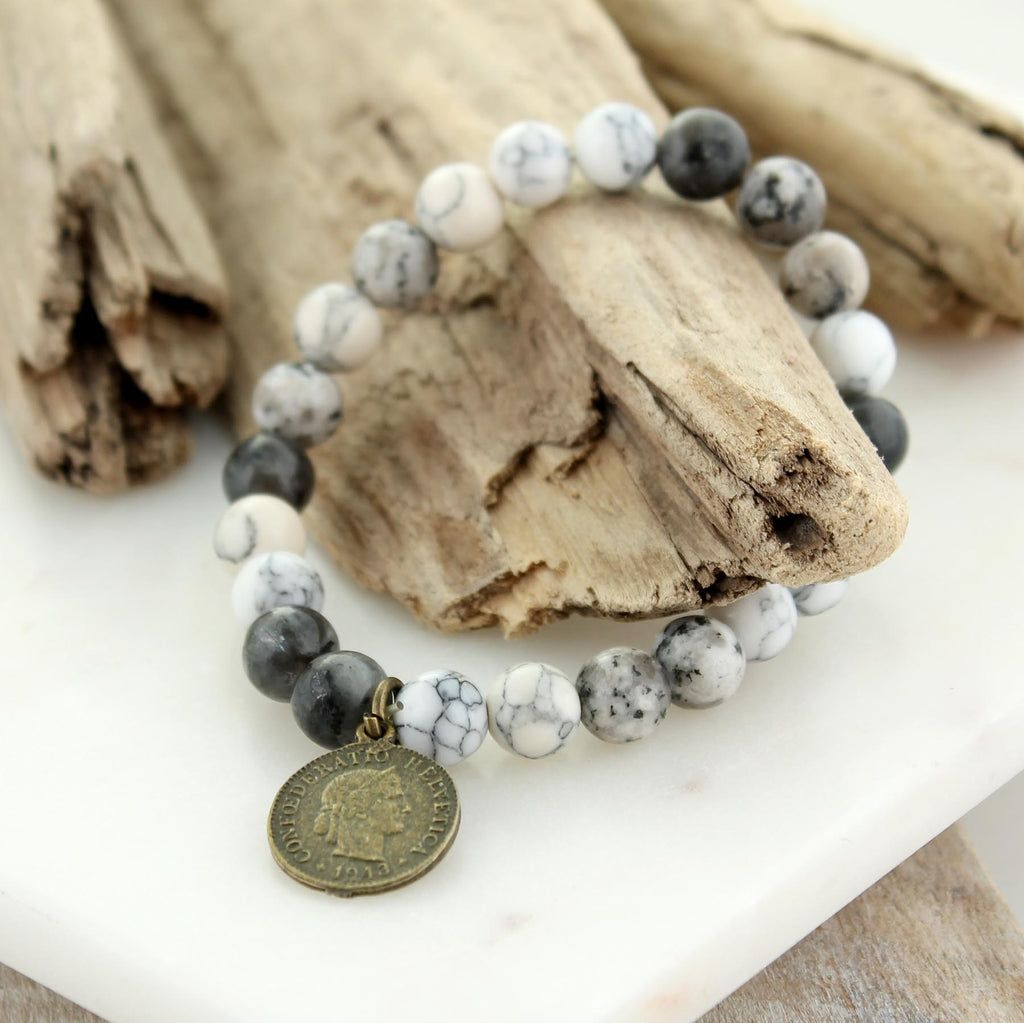 Gray Stone Bead Stretch Bracelet