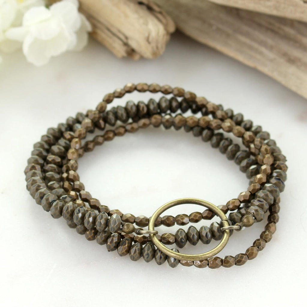 Vintage Beaded Stretch Wrap Bracelet