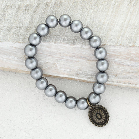 Gray Pearl Stretch Bracelet w/ Coin Charm